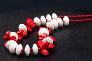 collar coral blanco rojo plata de ley