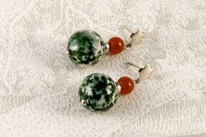 Pendientes jaspe verde, cornalina y Plata de Ley