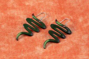 Pendientes de esmalte espiral verde y Plata de Ley