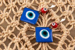 Pendientes de esmalte ojo turco y Plata de Ley