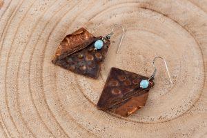 Pendientes de cobre envejecido, cristal y Plata de Ley
